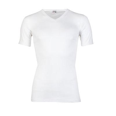 Heren beeren T-shirt korte mouw V-hals wit