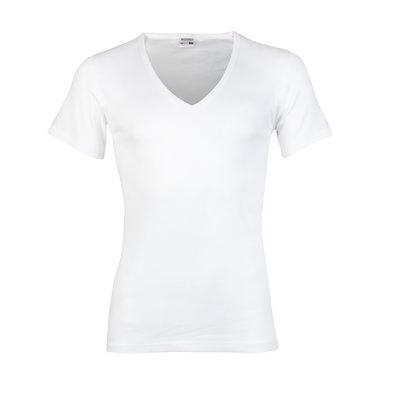 Heren beeren ondergoed T-shirt korte mouw diepe V-hals wit